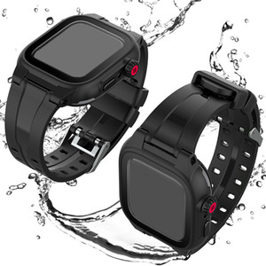 iWatch의 44mm에서 42mm 블랙위한 실리콘 밴드 스트랩 애플 시계 케이스 시리즈 5 4 3 스포츠 Watchands와 스크린 프로텍터 방수 커버