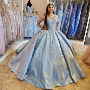 Sexy Ball Gown 2020 Quinceanera Prom Dresses V Neck Beaded Satin Evening Party Sweet 16 Dress Pageant Gowns vestidos de 15 anos
