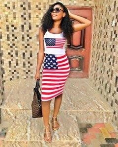 2PCS летнее платье Тощий дамы Два Бюстье полосатых печати Женская одежда США флаг Печать Sexy женщин