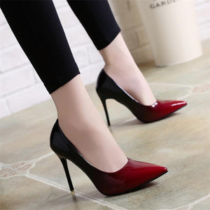 High Heels Frauen Designer Schuhe 2019 Spitz Farbverlauf Pumps Party Frühling Sommer Plus Size Sandalen