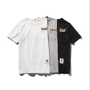 Hommes d'été Nouveau T-shirt brodé T neutre solide de couleur en vrac à manches courtes col rond Taille asiatique M-2XL