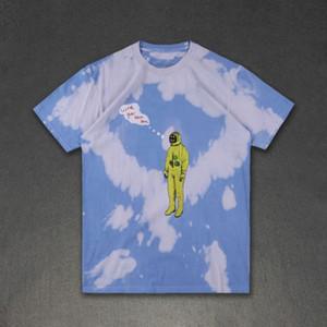 Herren-T-Shirts Art und Weise Travis Scott Astroworld Farbe gebatiktem Astronaut High Street Frauen kurze Hülsen-beiläufige Hemden