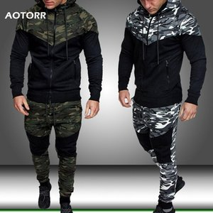 Men Sports Set Military Fashion Mens Camo Tracksuit Army Green 2 Pieces Sets Hooded Sweatshirt+Long Pants Military Olive 2020 T200601
