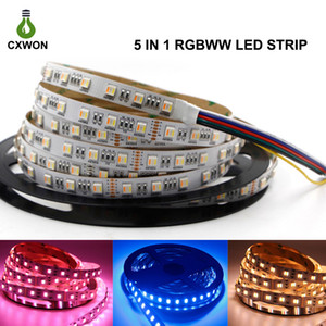 LED قطاع RGBWW الديكور عكس الضوء 5 IN 1 LED قطاع 12V 24V 5050SMD 60LEDS / M LED الشريط قطاع الضمان 3