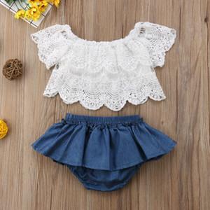 Новорожденных новорожденных девочек одежда цветочные топы + джинсовые платья брюки наряд 2 шт.