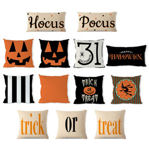 Almohada de Halloween Cojín Almohadas de lino Calabaza Funda de almohada Carta Funda de almohada decorativa para el hogar Sofá Funda de almohada LJJA3056