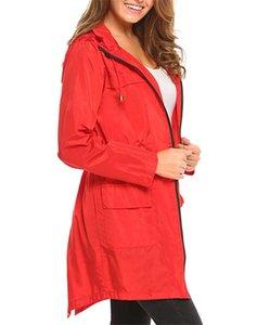 Cordelette à capuchon Trench taille élastique Mode solide avec fermeture éclair et femmes de poche Veste Designer femme Tissu