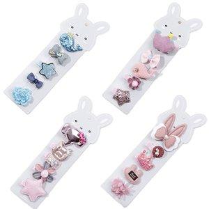 5Pcs / Set neonata perni di capelli del bambino si piega orecchie di coniglio neonato figli Capelli Pin capelli della parte superiore della clip della principessa Baby Girl Accessori forcine
