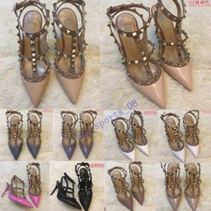 20 nouvelles chaude Marque Femmes Pompes Chaussures de mariage Femme haute de Nu Mode cheville bretelles Talons hauts sexy Rivets Chaussures de Talons Chaussures de mariée 35-45