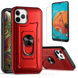 For MOTO E6 Play Plus G Stylus Kickstand Phone Case Shockprooof 2 in 1 Protective Shell Combo Armor Case+ Clear Tempered Glass