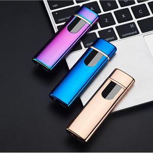 도매 방풍 전자 담배 라이터 무 화염 터치 스크린 스위치 휴대용 다채로운 USB 충전식 라이터 DBC DH0638