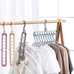 9 ثقوب السحر شماعات الملابس متعدد الميناء دعم دائرة الشماعات لملابس تجفيف الرف البلاستيك الشماعات الملابس التخزين السحر شماعات