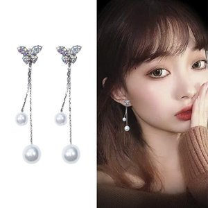 925 Silver Bow Earrings Womens Korean Temperament Long Pearl Drop Earrings Wild Personality Set with Diamond Stud Earrings