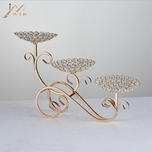 3-Arms Candle holders Metal Candelabras Shiny Gold Candlesticks Wedding Centerpieces Candle Holder Cake Plate Home Decoration