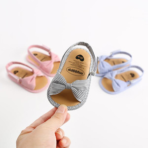 Bebek kız bebek sandalet Bebek Çocuk Kız bebekler İlk Yürüyenler ilmek Çizgili Pamuk Kumaş Ayakkabı Yaz Açık Burun Sandalet