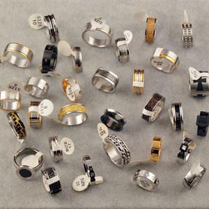 خواتم التيتانيوم الصلب مصمم بسيط الأزياء خواتم حزام الماس والذهب مطعمة ورجل الفضة والنساء ميكس نماذج مختلفة