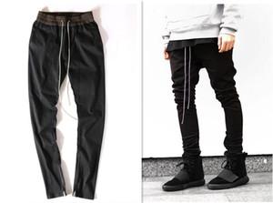 Les hommes de vêtements européens chinos justin bieber pantalon noir Loisirs kanye peur robe sarouel ouest de pantalon de survêtement à glissière dieu
