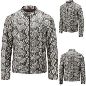 Automne et Hiver Nouveau Style Loisirs Hommes Washed motif peau de serpent col debout manteau en cuir imprimé veste manteaux de qualité rétro