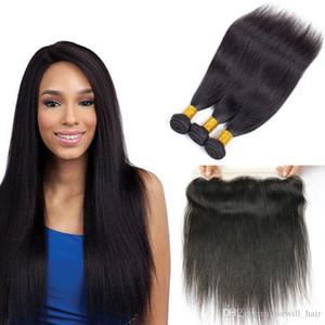 Droit Bundles cheveux brésiliens avec fermeture gros homme Trames cheveux avec 13x4 Dentelle Frontal Fermeture Remy Hair Extensions Fastyle humaine