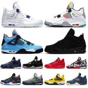 2020 всячески препятствовать Топ-4 мужской баскетбол обувь 4S в суде карнавал фиолетовый Трэвиса Скотта 4 Черная кошка Раста мужские кроссовки спортивные кроссовки размер 13