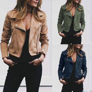2018 Nouveau femmes manteau de veste en cuir PU Zipper manches longues Solid Slim Fashion Veste Manteau Outwear Automne 3 style