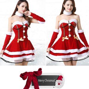 Ms. Santa Adult Women Christmas Costume Bandeau Layered A-line Mini Dress with White Fuzzy Trim Headband Neckband Gloves Set Fashion Cosplay