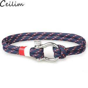 European Buckles Survival Bracelet Horseshoe Charm Navy Style Braided Rope Paracord Bracelet for Men Women Jewelry Gifts