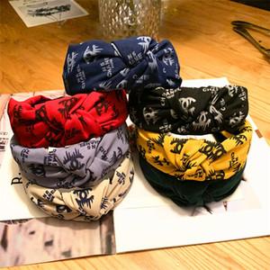 Moda Kafa Kız Vintage Örme Twisted Düğümlü Harf Kafa Geniş Saç Bantları Baş aşınma Aksesuarları 7 Renk EFJ712