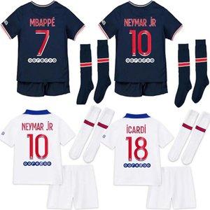아이들은 세트 양말 (20 개) (21) 축구 유니폼 2020 2021 MBAPPE 카바 니 ICARDI 드락 슬러 유니폼 camisetas 축구 키트 셔츠 아이 세트 키트