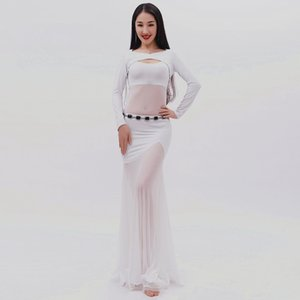 The goddess of the new 2018 new white gauze dancing dress belly dance uniforms fairy autumn winter suit 536