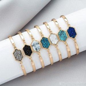 Druzy braccialetti di fascino delle donne geometrica Faux pietra braccialetto di fascino del filo braccialetto per i monili di modo delle ragazze regalo
