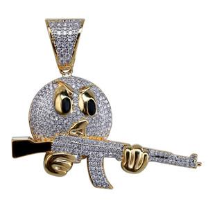 Hip hop para fora congelado Emoji face Character Com Gun cadeia colar pingente charme Gold Silver Cubic dos homens jóias zircão