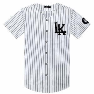 2018-2019 뜨거운 판매 남자 티셔츠 패션 Streetwear 힙합 야구 저지 줄무늬 셔츠 남자 의류 Tyga 마지막 왕 의류 Y19050902