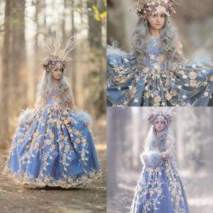푸른 꽃 소녀 드레스 보석 목 3d 꽃 아플리케이션 된 페더 깃털 소녀 미인 가운 긴 소매 프릴 바닥 길이 생일 가운