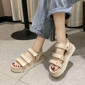 CINESSD PU Gladiator Sandals Mulheres Plano gancho laço mulher Sandália 2020 Sapatos de Verão sapatos de plataforma Mulher Sandals Feminino Mulheres