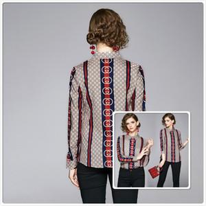 2020 활주로 패션 디자이너 셔츠 여성 인쇄 긴 소매 옷 깃 목 슬림 우아한 여성 셔츠는 캐주얼 Office 단추 셔츠 탑 블라우스