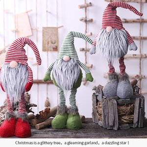 Christmas Stripe Standing Faceless Doll Santa Claus Ornament Figurine Xmas Window Table Decoration Collection