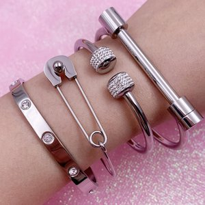 Sistema del brazalete del brazalete de cristal del amor de Mavis Hare Pin de la bola pulsera de herradura de acero inoxidable Brazalete abierto para la Mujer