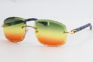 O envio gratuito de metal última moda óculos de sol 3524012-B Óculos de mármore azul da prancha sem aro dos óculos de sol Moda Lente Espelho de alta qualidade