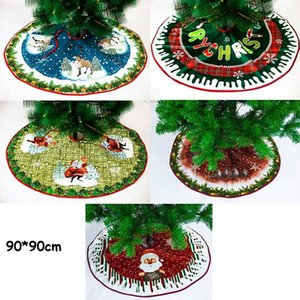 شجرة عيد الميلاد تنورة أقمشة غير منسوجة سانتا شجرة شجرة تنورة طوي أشجار عيد الميلاد ديكورات 90cm شجرة التنانير