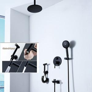 Decken-Rundduschsystem 9-Zoll-ABS-Regenduschkopf mit Massagefunktion Mattschwarzes Umstellventil aus Messing für Warm- und Kaltwasser 3 Funktionen Bidet-Set