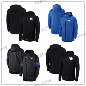 Kentucky Wildcats Sweatshirt On-Kortu Basketbol Oyuncu Showtime Sideline Performans Tam Zip Hoodie Erkek Üniversite Sporları Hoodies 2018-2019