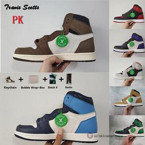PK Versión 1 Travis Scotts Turbo Verde Chicago 1s prohibidos los zapatos de baloncesto del Mens con la caja de pino obsidiana verde carmesí Tint Entrenadores zapatillas de deporte