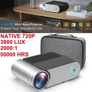 Vamvo L4200 Portable Video Projector, Full HD 1080P Display Supported Outdoor Movie Projector 3800 Lux 50000hrs Mini Projector
