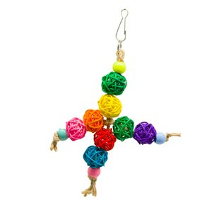 Kuş Papağan Oyuncak Renkli Rattan Toplar Hızlı Bağlantı için Cage Chew