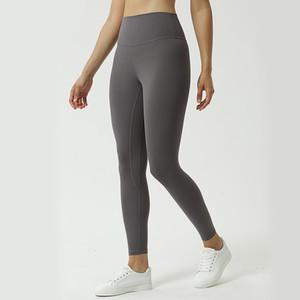 de cintura alta pantalones de yoga para alta elasticidad de la aptitud de las mujeres desnuda ajustado del secado rápido corriendo caderas nueve puntos pantalones de deporte L-022