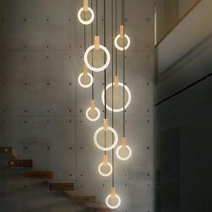 Современный светодиодный лестничный люстра освещения Nordic гостиная потолок потолок подвесной светильники спальни акриловые кольца светильники деревянные висячие огни