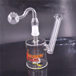 Dunkin Dabs American Runs On Dabs Mini pipa de fumar de agua bong de vidrio 14mm colector de ceniza filtro de agua y percolador con pipa de vidrio para quemador de aceite