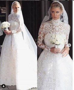 Cuello alto de la vendimia del cordón lleno musulmán vestidos de boda de manga larga playa africana A vestidos de novia vestidos de novia barato vestito da sposa 2019
