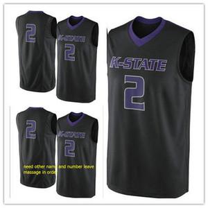 Özel yapılmış # 2 Kansas State Wildcats adam kadınlar gençlik basketbol formalar boyut S-5XL herhangi bir isim numarası